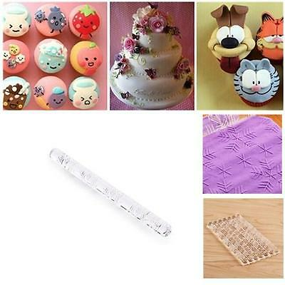 Acrylic Rolling Pin Textured Embossing Fondant Sugarcraft Cake Decorating Craft