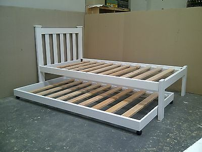Solid pine single bed with trundle