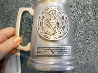Fire Chief Pewter Stein Berks Cty Reading Pennsylvania 100 Anniversary