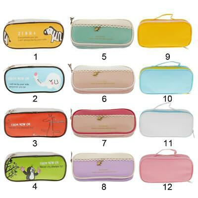 PU/Canvas Pencil Case Pen Stationery Box Cosmetic Pouch Brush Holder Makeup Bag