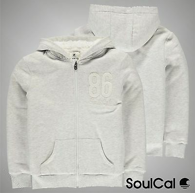 New Junior Girls Branded SoulCal Faux Fur Lined Full Zip Hoody Top Size Age 7-13
