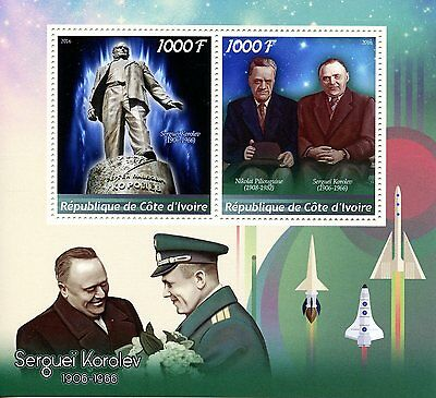 Ivory Coast 2016 MNH Sergei Korolev 2v M/S Space Stamps