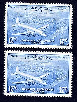 CANADA KGVI 1946 2 x 17c SPECIAL DELIVERY STAMP MNH SG16 & SG17