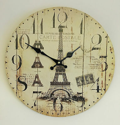 Vintage Distressed Wall Clock Rustic 34cm Paris French Retro Shabby Chic Kitchen