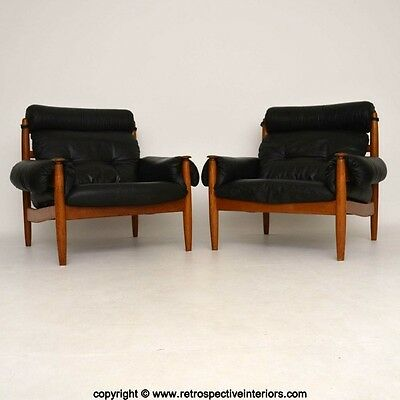 PAIR OF DANISH LEATHER & OAK ARMCHAIRS VINTAGE 1960's