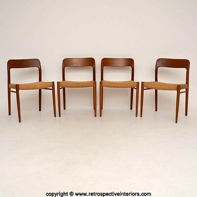 SET OF 4 DANISH TEAK RETRO DINING CHAIRS BY NIELS MOLLER VINTAGE 1960's