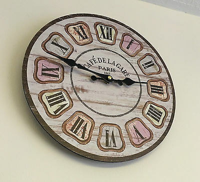 Vintage Distressed Wood Effect Wall Clock Rustic 34cm Retro Shabby Chic Kitchen