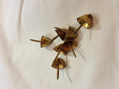 Vintage Heavy Duty Brass And Steel Coffin Nails Studs Set Of 7