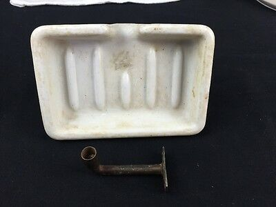 Vintage White Heavy Porcelain Soap Dish Sink Kitchen Bath