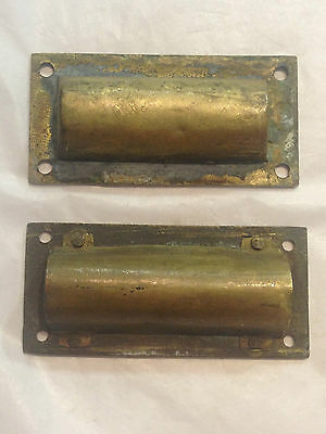 2 Brass Drawer Door Handles Cupboard Vintage Antique Collectable