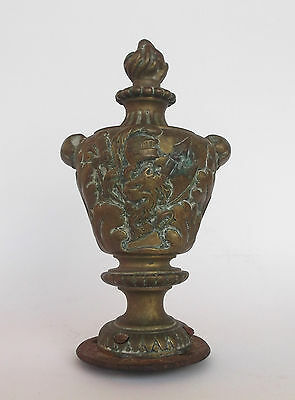 Rare Antique Brass Emblazoned Newel Post Finial