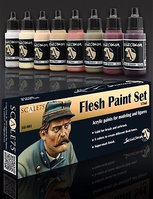 FARBEN SET HAUT SSE-003 Acrylfarben Scale 75 Airbrush Pinsel