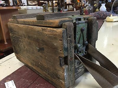 Vintage SMALL Rustic Wooden Ammo Box Crate Trunk CFK 1942 WW2