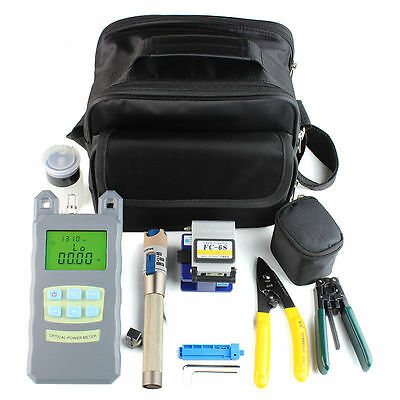 Fiber Optic FTTH Tool Kit with FC-6S Cleaver Optical Power Meter Visual Finder l