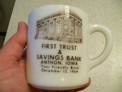 "1964 First Trust & Savings Bank~~Anthon, Iowa~~Coffee Cup~""Your Friendly Bank"""