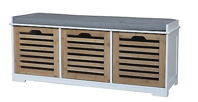 Wooden Storage Bench Comfortable Seat Cushion Drawer Lacquer Finish 3 Seater