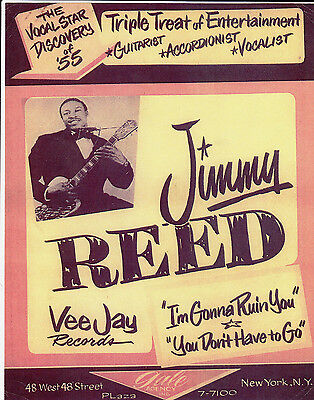 JIMMY REED Gale Agency Flyer Vee Jay Records 1955 Poster Rhythm & Blues rare EX