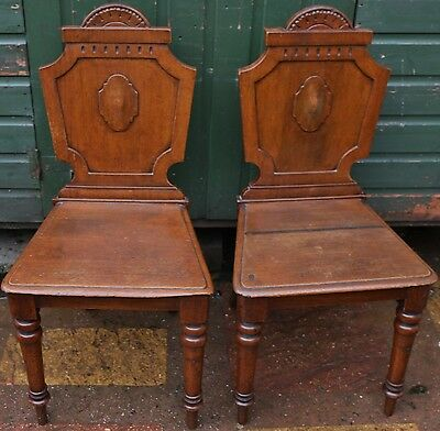 Super Looking Old Pair Of Carved Back Solid Wood Hall Chairs To Tidy Up