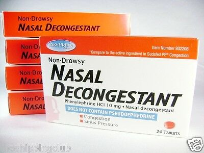 5 x NASAL DECONGESTANT 120 Tablet Phenylephrine HCI 10mg Sinus Relief NON DROWSY