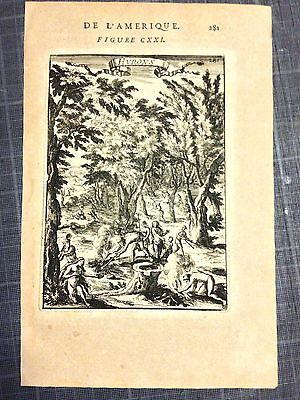 CANADA HURONS TYPICAL SCENE 1683 by MALLET ORIGINAL COPPER ENGRAVED PLATE