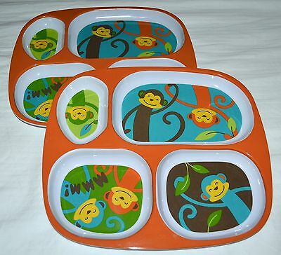 NEW Jumping Beans Funny MONKEY Divided Child Plate 2 Available CUTE!