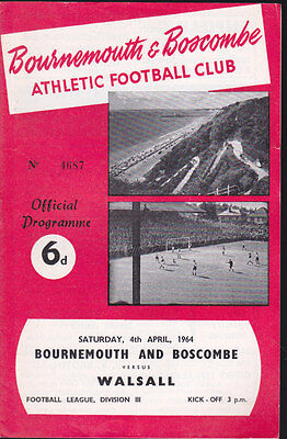 1963/64 BOURNEMOUTH V WALSALL 04-04-1964 Division 3