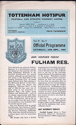 1964/65 TOTTENHAM HOTSPUR (Reserves) V FULHAM 26-09-1964 Combination