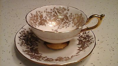 Coalport Tea Cup and Saucer GOLD ORCHIDS Hand Painted Bone China Made in England
