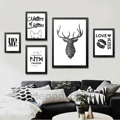 Black White Motivational Quote Deer Abstract Minimalist Art Canvas Poster 141