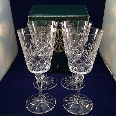 Set of 4 Large Galway Irish Crystal Bucket Goblet Glasses Clare Model
