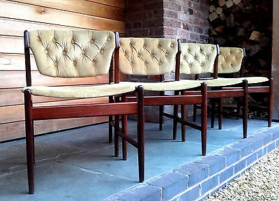 Set Of 4 Mid-Century Button Backed Dining Chairs