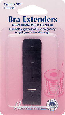 Bra Back Extender With 4 rows and 1 Hook Black 19mm. No Sewing, Clip on Extender