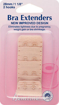 Bra Back Extender With 4 rows and 2 Hooks NUDE 28mm. No Sewing Clip on Extender