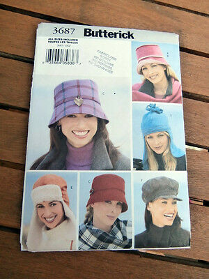 Oop Butterick 3687 Misses Hats scarfs cloche & other varieties size S-L NEW