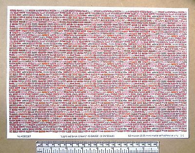 "G gauge (1:24 scale) ""Light red brick (clean) "" self adhesive vinyl - A4 sheet"