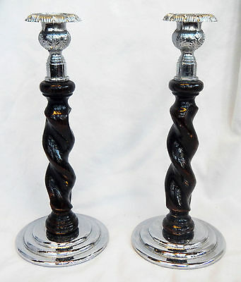 Art Deco Pair of Wooden Candlestick / Candlesticks with Twisted Stems