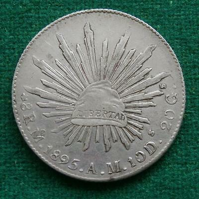 1895 MEXICO SILVER  8 Reales  Coin Mo AM Caps & rays