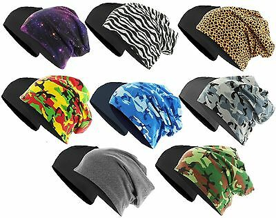 MSTRDS PRINTED JERSEY BEANIE REVERSIBLE Master Dis Slouch Long Winter Ski Mütze