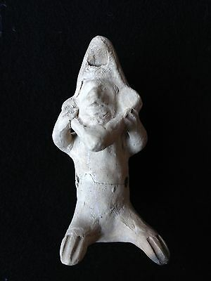 "Precolumbian COLIMA Seated ""Old Man"" Whistle Figure ca. 200 BC - 250 AD."