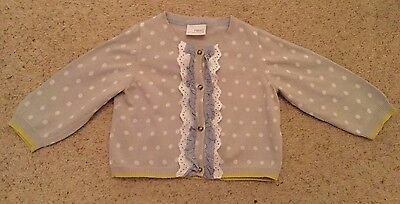 Baby Girls Frill Front Cardigan From Next  Age 9-12 Months  Ex Cond