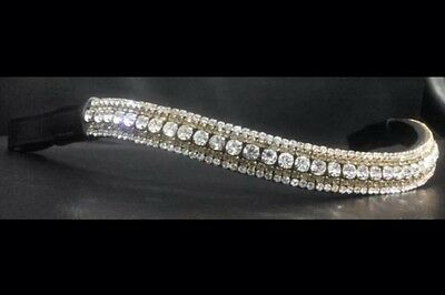 BNWT Wave Leather Bling Browband Clear & Gold Diamante Crystals Brown Full