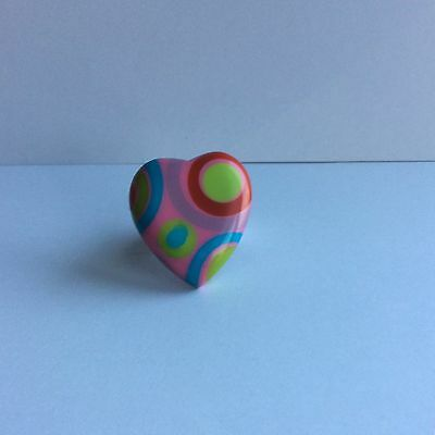 Vintage  French Design Multicolored Heart Shaped Resin Ring Fits All Sizes