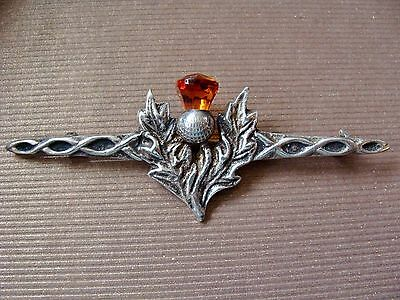 Fine Old Hallmarked Scottish Thistle Knot Cairngorm Sterling Silver Brooch