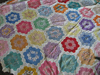 Antique Quilt Top Grandma's Flower Garden Cottage Style Beauty  HAND STITCHED