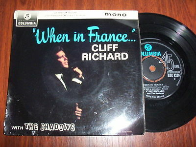 """Cliff Richard and the Shadows EP """"When In France"""" Ex/Ex Columbia SEG 8290"""