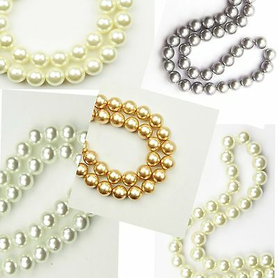 """16"""" Strand Natural White Cream Ivory Dove Grey Gold Shell Pearls Round Beads"""