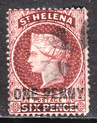 1883 ST. HELENA SURCHARGED #29 1p on 6p BROWN RED, F, FANCY CORK CANCEL