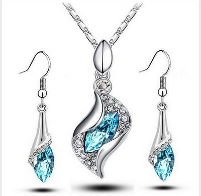 Silver & Crystal Earrings And Necklace  Luxury Jewellery Set.
