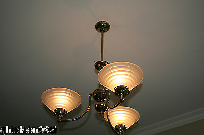 3 Light Ceiling Pendant - Brass and Glass.