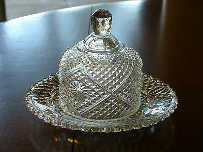 Mint Condition! Rare Avon Glass Domed Butter Or Cheese Dish!